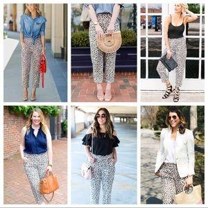 J. Crew Leopard Linen Cheetah Animal Print Pants